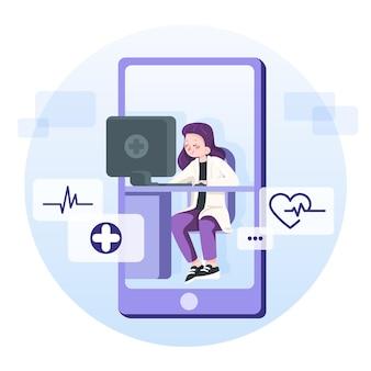 Doctor usando la aplicación en línea para ayudar a los pacientes