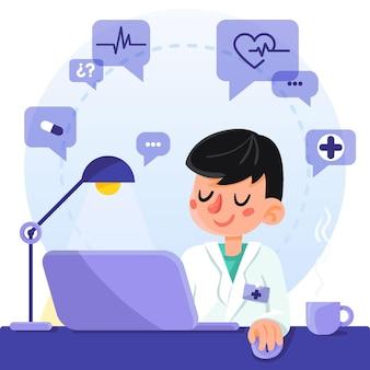 Doctor usando tecnología en línea para ayudar a los pacientes