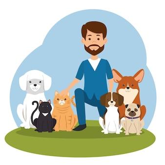 Doctor veterinario con personaje de mascota
