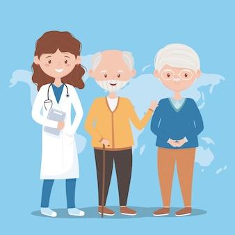 Doctora y abuelo del mundo, doctores y personas mayores