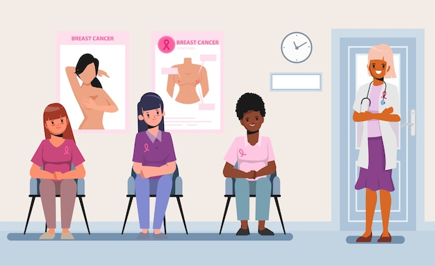 Doctora asistente para controlar el cáncer de mama. mes de la conciencia del cáncer de mama.