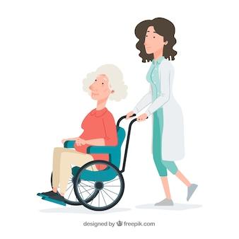Doctora empujando mujer mayor en silla de ruedas