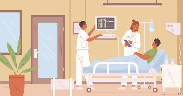 La doctora y la enfermera visitan al paciente masculino en la sala de terapia intensiva en la ilustración plana del hospital.