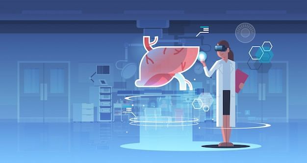Doctora con gafas digitales mirando realidad virtual hígado órgano humano anatomía cuidado de la salud