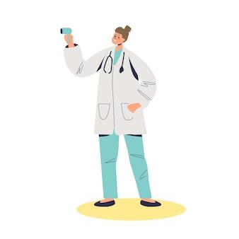 Doctora en medicina con ilustración de termómetro infrarrojo sin contacto