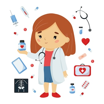 Doctora con objetos de medicina. lindo personaje kawaii. ilustración de salud para niños.