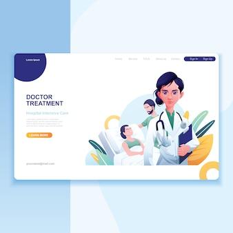 Doctora paciente y enfermera como fondo