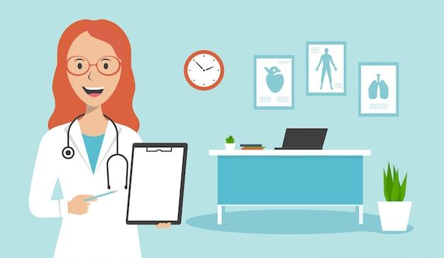 Una doctora está de pie en la oficina y sostiene una hoja de papel con un diagnóstico