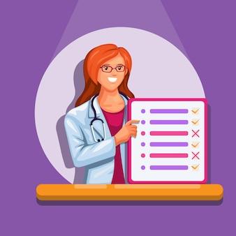 Doctora sosteniendo el símbolo del tablero de lista para el vector de ilustración de información de asistencia personal