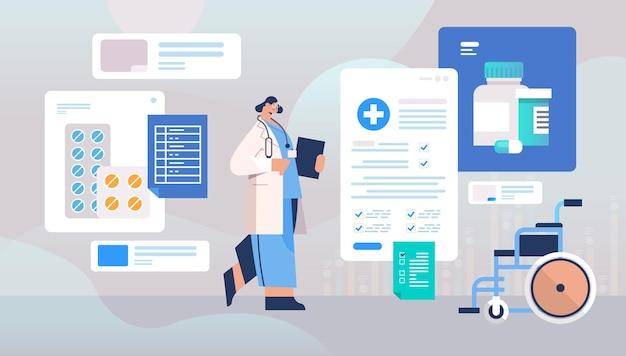 Doctora en uniforme sosteniendo portapapeles medicina concepto de salud trabajadora del hospital con estetoscopio ilustración vectorial horizontal de longitud completa