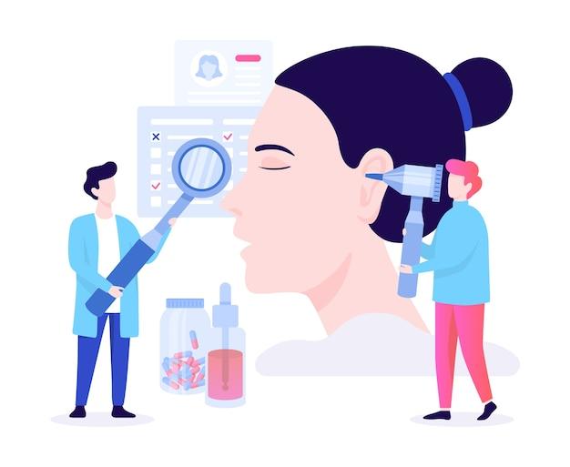 Doctore hace el concepto de examen de oído. idea de tratamiento médico y asistencia sanitaria. herramienta de otorrinolaringología. ilustración en estilo de dibujos animados