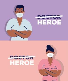 Doctores afro pareja usando mascarillas para covid19