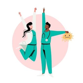 Doctores alegres y triste concepto de coronavirus