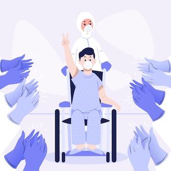 Doctores aplaudiendo al paciente recuperado