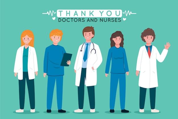 Doctores en bata blanca gracias