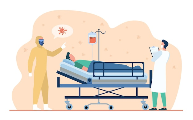 Doctores dando tratamiento al paciente covid.