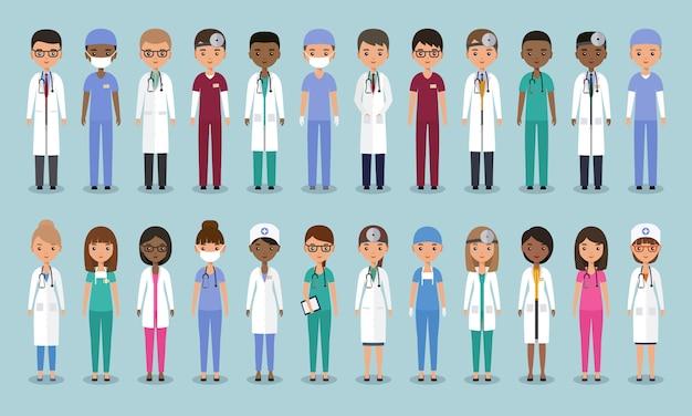 Doctores en diseño plano. personajes médicos animados. ilustración.