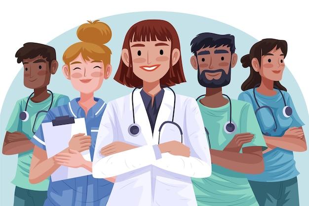 Doctores y enfermeras detallados