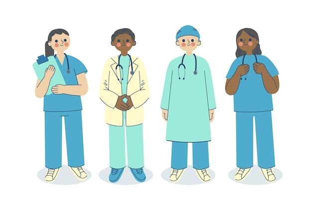Doctores y enfermeras dibujados a mano