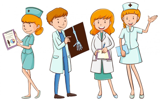 Doctores y enfermeras con expedientes de pacientes.