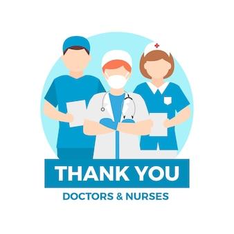 Doctores y enfermeras ilustrados con mensaje de agradecimiento