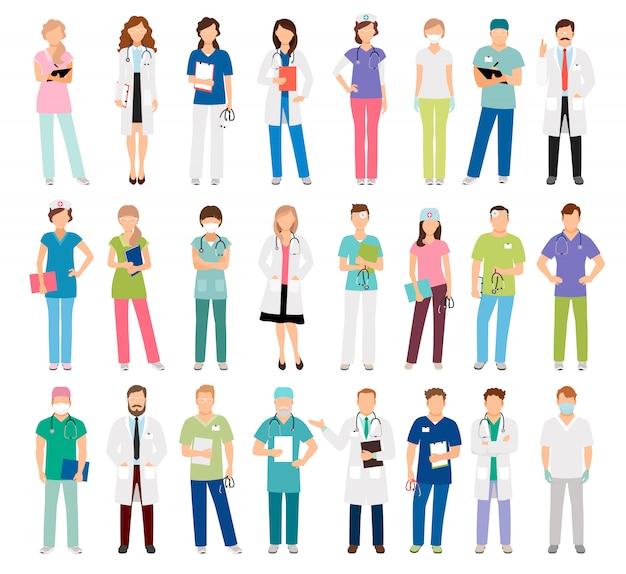 Doctores y enfermeras mujeres y hombres.