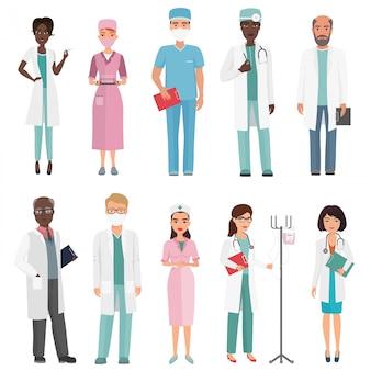 Doctores, enfermeras y personal médico. concepto de equipo médico en personaje de dibujos animados diseño plano personas.
