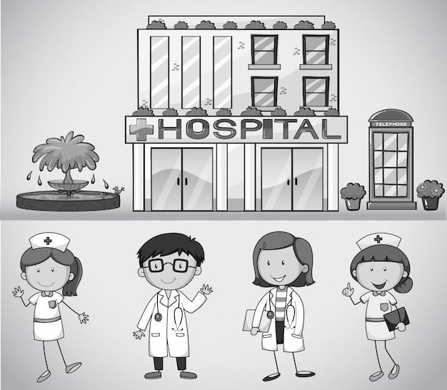 Doctores y enfermeras que trabajan en el hospital.