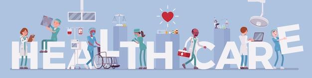 Doctores y letras gigantes de la salud