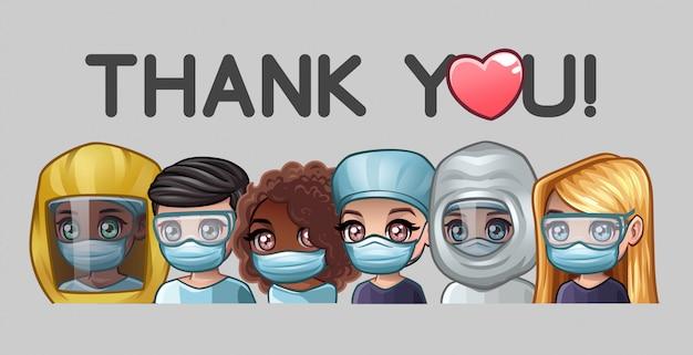 Doctores en máscaras médicas y mensajes de texto gracias