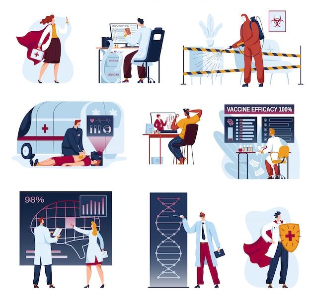 Doctores en medicina de futuras ilustraciones, dibujos animados de colección futurista de innovación sanitaria, análisis de ciencias médicas