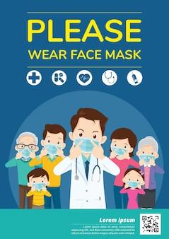 Doctores y miembros de la familia campaña papá, mamá, niña, niño use una máscara facial