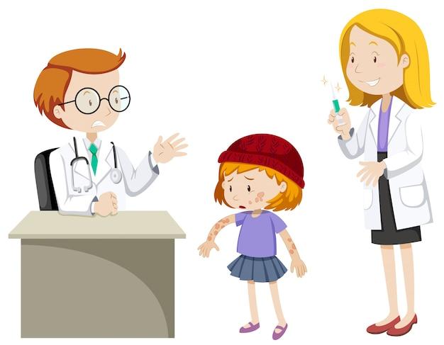 Doctores y niña enferma en la clínica