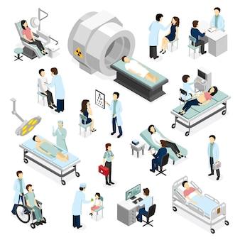 Doctores y pacientes en clínica