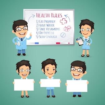 Doctores que presentan pancartas vacías