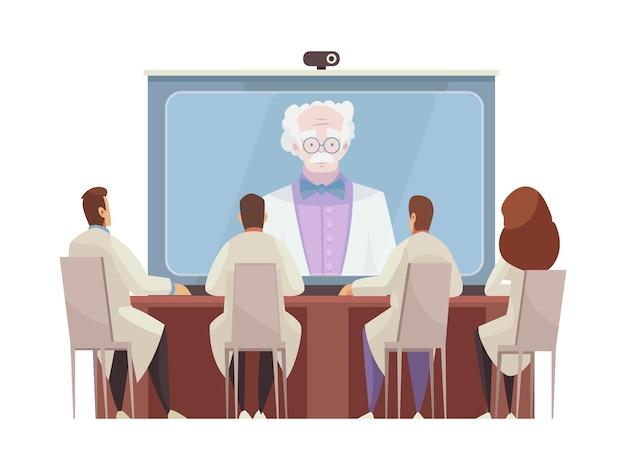 Doctores sentados alrededor de la mesa escuchando dibujos animados de la conferencia médica en línea