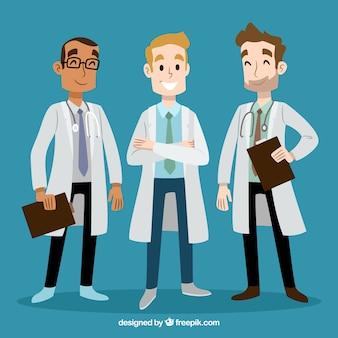 Doctores sonriente dibujados a mano