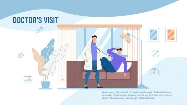 Los doctores visitan el cartel promocional de los servicios médicos