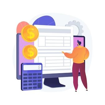 Documentación electrónica. hombre con registro. comprobando el registro del repositorio. aprobación en línea, formulario de pantalla, página de validación. crónicas de gastos. ilustración de metáfora de concepto aislado de vector.
