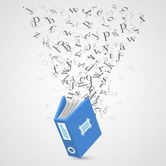 Documento con arte de letras voladoras. ilustración vectorial