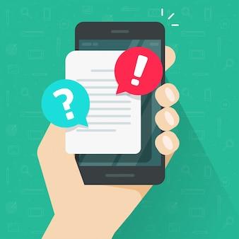 Documento con burbuja de notificación de alerta o error en dibujos animados de aviso de precaución de teléfono móvil