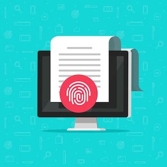 Documento de computadora protegido por huella digital