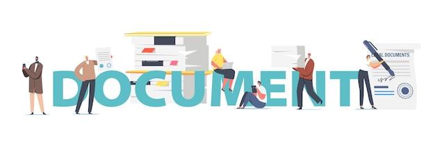 Documento, concepto de trabajo de oficina. los personajes masculinos femeninos obtienen servicio profesional de notario, las personas visitan la oficina del abogado para firmar carteles, pancartas o volantes de documentación legal. ilustración vectorial de dibujos animados
