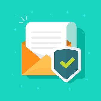 Documento de correo electrónico de seguridad o archivo de correo protegido y escudo icono de dibujos animados plana