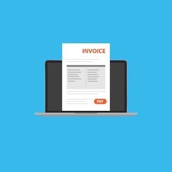 Documento de factura en su computadora portátil clipart