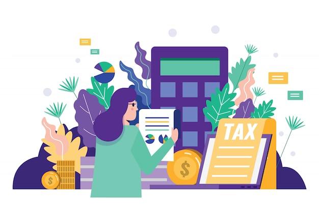 Documento del impuesto de la lectura de la mujer de negocios para auditar datos financieros.