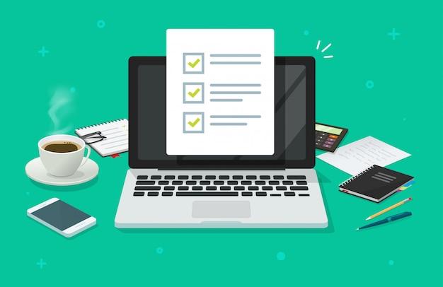 Documento de lista de verificación o formulario de tarea de encuesta en línea en la computadora portátil en la mesa de trabajo de dibujos animados plana