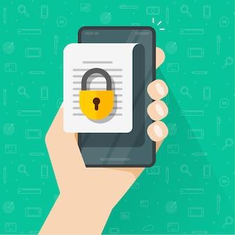 Documento móvil con acceso seguro en línea confidencial y concepto de permiso digital de bloqueo privado