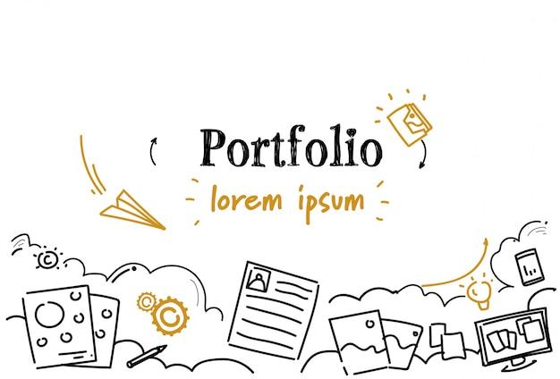 Documento de negocios ocupación profesional currículum portafolio concepto boceto doodle espacio de copia horizontal