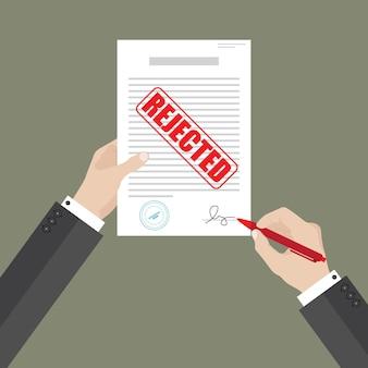 Documento de papel de acuerdo de signo de empresario